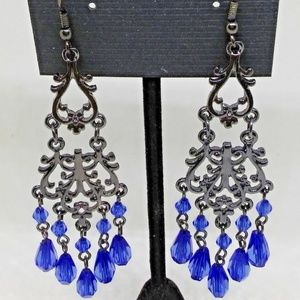 Chandelier Earrings Blue Beads Drop/Dangle 1269